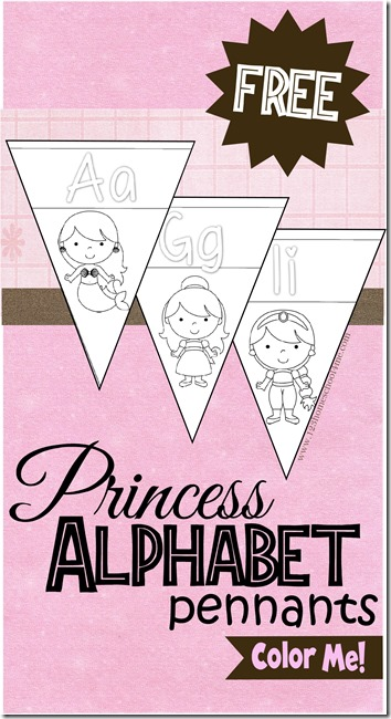 FREE Disney Princess Pennant Alphabet Wall Cards - perfect for Preschool, Toddler, Kindergarten, and 1st grade, to color and hang for reference. SUPER CUTE!
