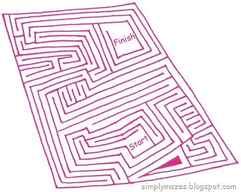 Maze Number 113: Parallel. A pink printable maze.