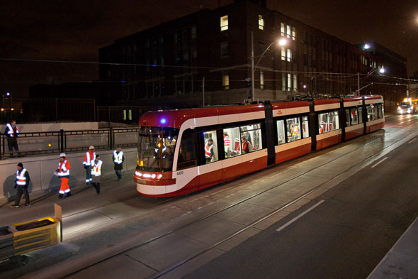 Street Design — TTC Gets New Bombardier Built Streetcars On The Rails For A Late Night Test Run