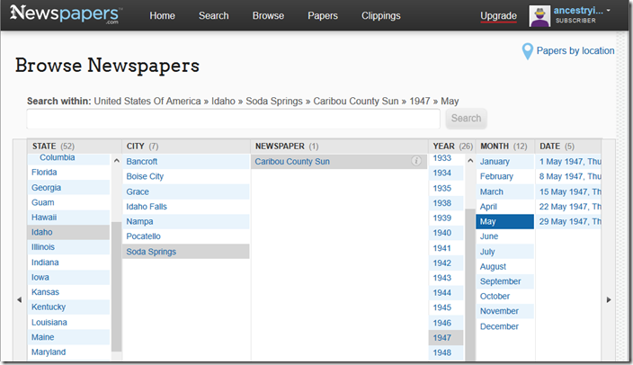 Browse newspapers.om by country, state, city, paper, year, month, issue, and page.