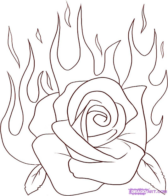 Drawhow To Draw Flaming Rose Step By Step Tattoos Pop Culture Ydhfde