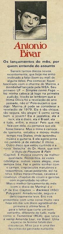 Antonio Bivar, Os lançamentos do mês, por quem entende disso - Pop 1979-06 - AB