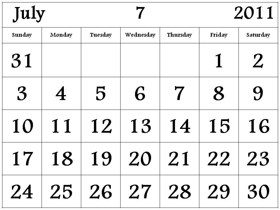2011 Calendar July. Big Calendar 2011 July month