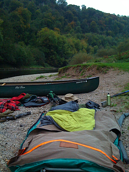 Morning Camp. Just climbed out of the swag. Earlier, after I woke up I'd watched from inside the swag as a female Row deer picking her way along rocks on the opposite bank just 20 feet away, what a way to start the day!