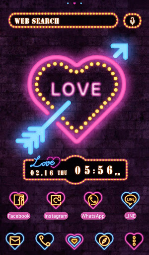 Lovely Theme Neon Cupid Heart 1.0.0 Windows u7528 1