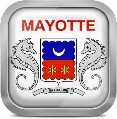 Mayotte square flag with metallic frame