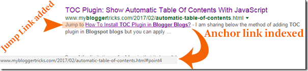 Table of contents anchor links indexed by Google