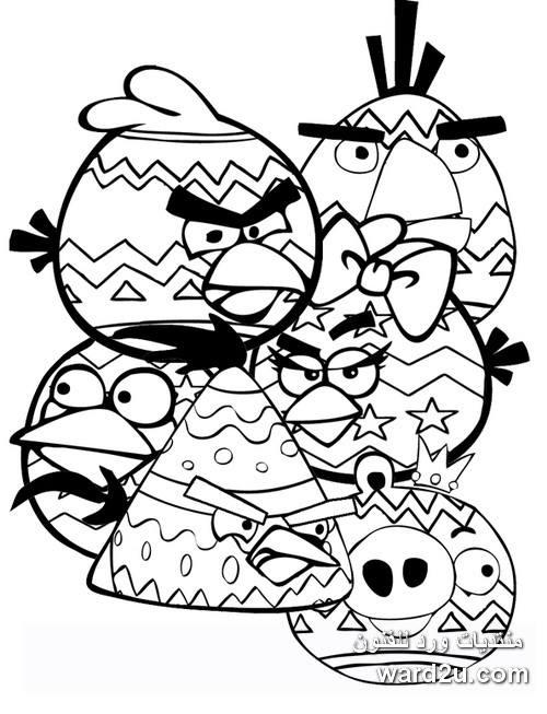 الطيور الغاضبة فى رسوم جاهزة للتلوين Angry Birds Coloring