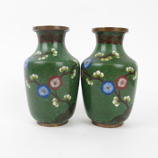 Chinese Cloisonné Small Vase Pair