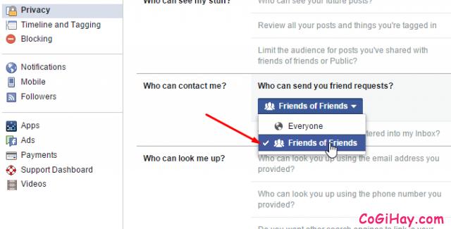 Chỉ cho phép bạn của bạn trên Facebook gửi lời mời kết bạn