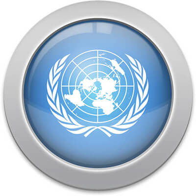 United Nations flag icon with a silver frame