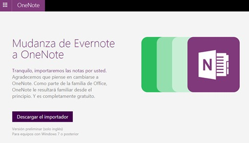 Importador de Evernote a Onenote