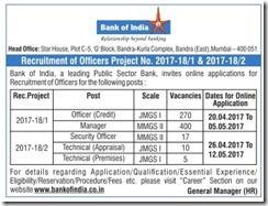 Bank of India Advertisement 2017 www.indgovtjobs.in