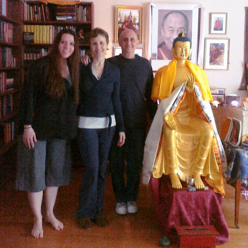 From left: Former Mandala editor Carina Rumrill with Wendy Cook and Nick Ribush of Lama Yeshe Wisdom Archive and the archive's new Maitreya Statue, Lincoln, Massachusetts, USA, May 2012