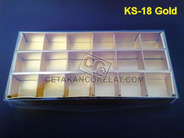 Casing Kotak 18 Gold kemasan mika coklat cokelat sekat KS-18