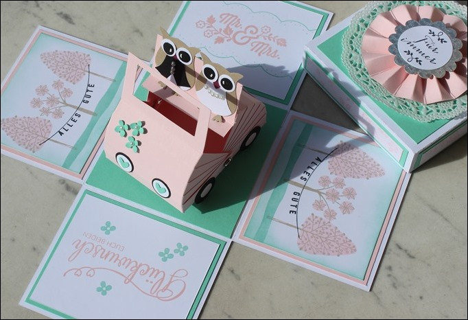 Hochzeit Wedding Eulen Auto Explosion Box 00