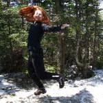 Katy's ninja pose at the summit