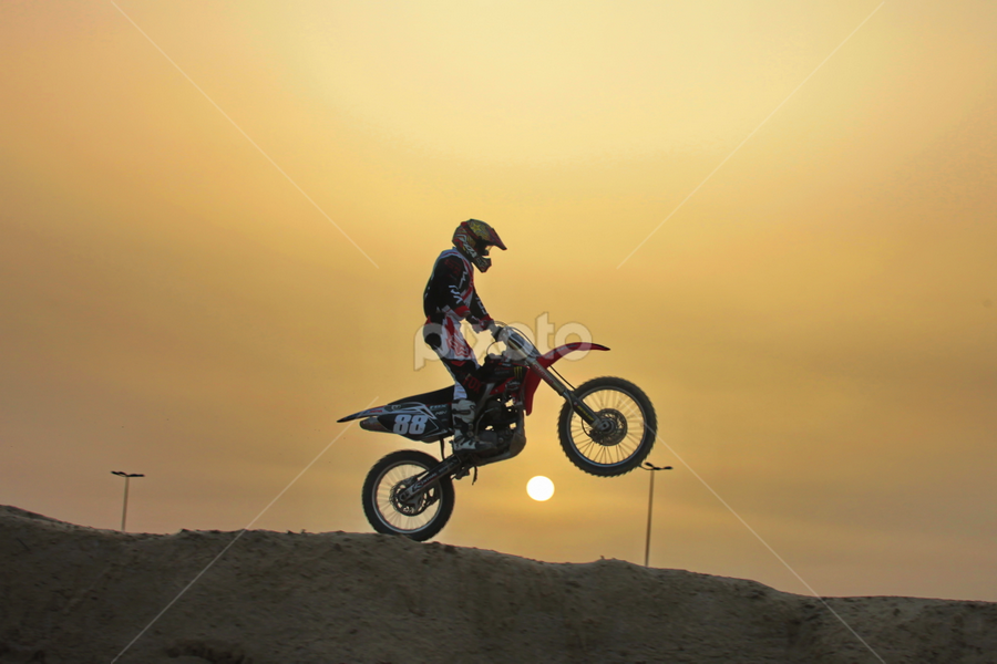 another sunset at dirt track by Ahmad Azaharuddin Omar - Sports & Fitness Motorsports ( motocross, sunset, bahrain )