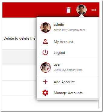User can switch between accounts using the account panel in the top right corner.