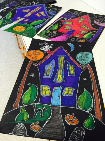 Color it like you mean it 4th grade spooky halloween houses for 4th grade craft projects