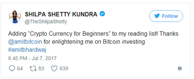 shilpa shetty promoting bitcoin and cryptocurrency