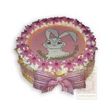 5. kép: Fényképes torták - Nyuszi mintás virágos torta