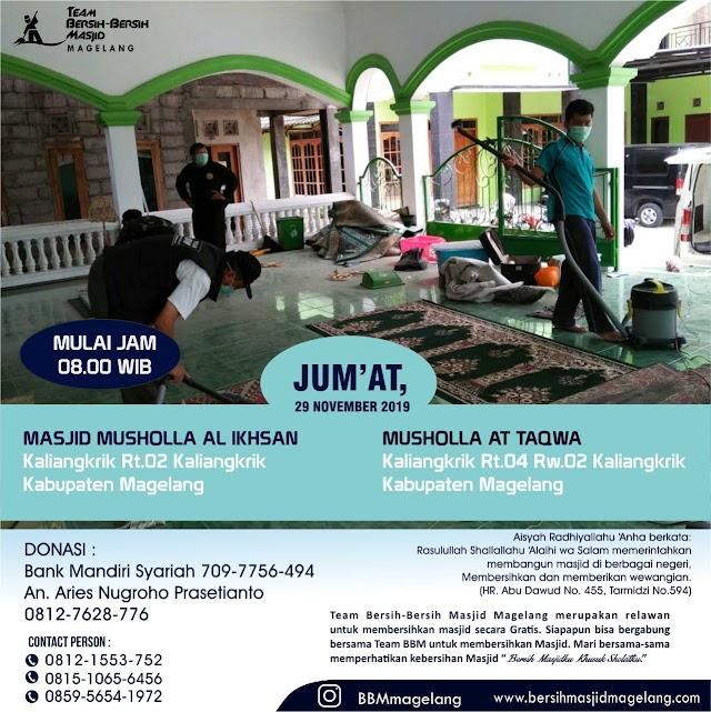 Bergabunglah dalam kegiatan Bersih-bersih Musholla Al-Ikhlas dan At-Taqwa Kaliangkrik Kabupaten Magelang
