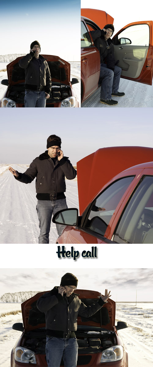 Stock Photo: Car breakage on the winter road, help call
