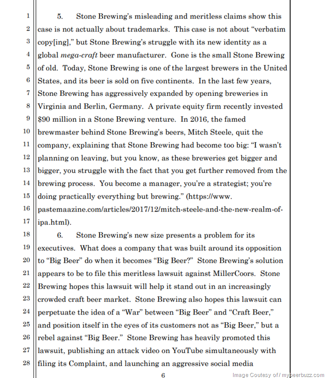 "MillerCoors Files Response To Stone Brewing's KeySTONE Lawsuit (We Used ""Stone"" First)"