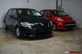 Toyota Corolla and Peugeot 107
