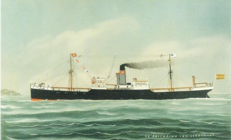 Foto 1. Cuadro representando el vapor ARICHACHU con los colores originales de la Naviera Bermeo. Foto Untzi Museoa.jpg