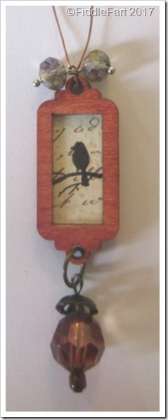 Tiny Wooden Bird Tag Decoration. c