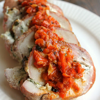 Spinach Dip Stuffed Pork Loin