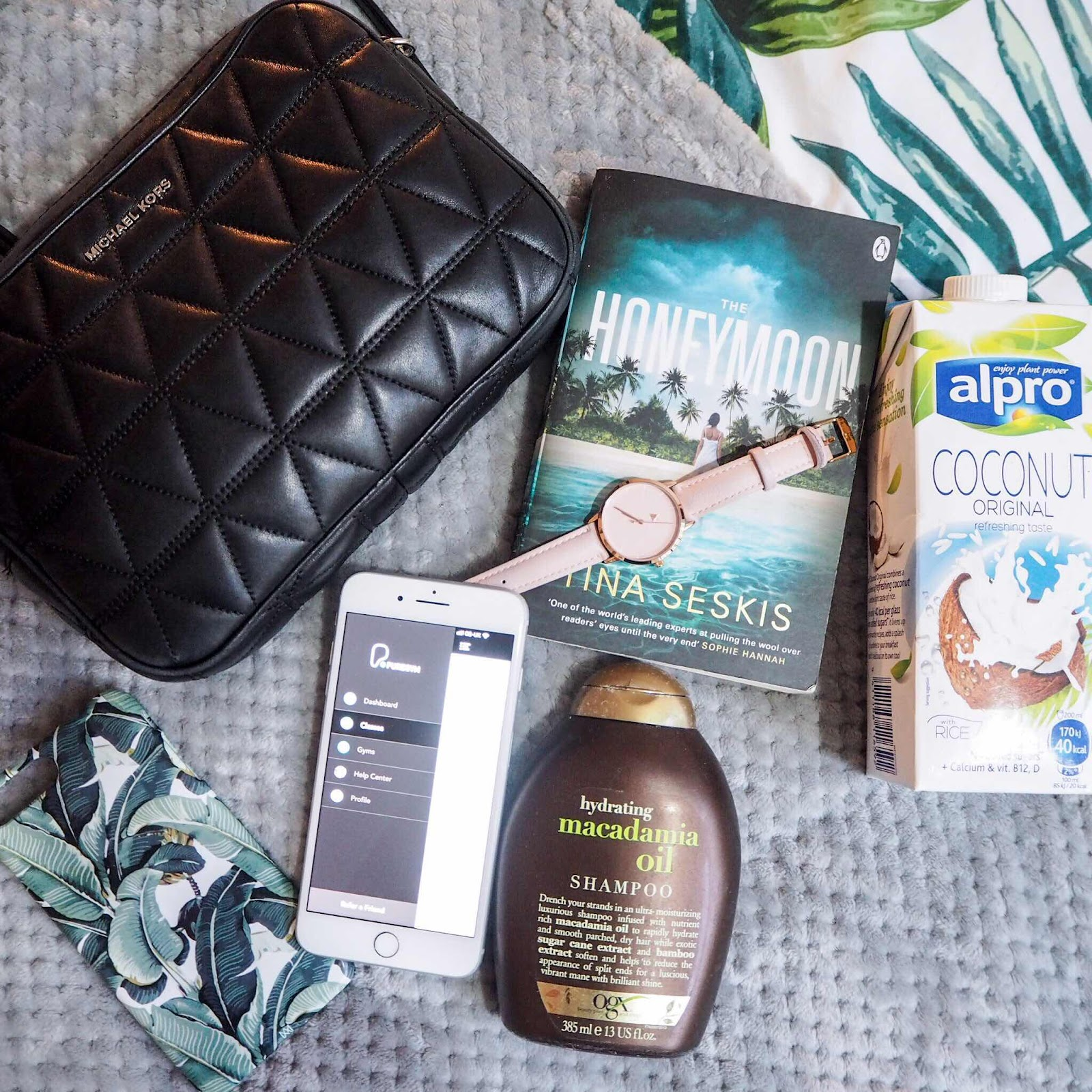 lifestyle-blog-monthly-favourites-michael-kors-jet-set-asos-watch-alpro-coconut-milk-overnight-oats-caseapp-palm-print-phone-case-the-honeymoon-tina-seskis