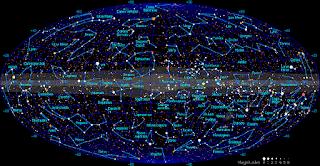 κοσμικός χάρτης αστερισμών, names of the stars.