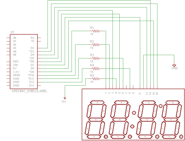 arduino 4 digit 7 segment connections