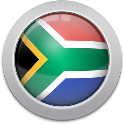 South African flag icon with a silver frame
