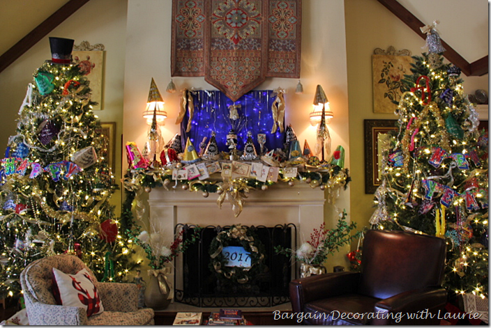 Mantel and Trees New Year Decor