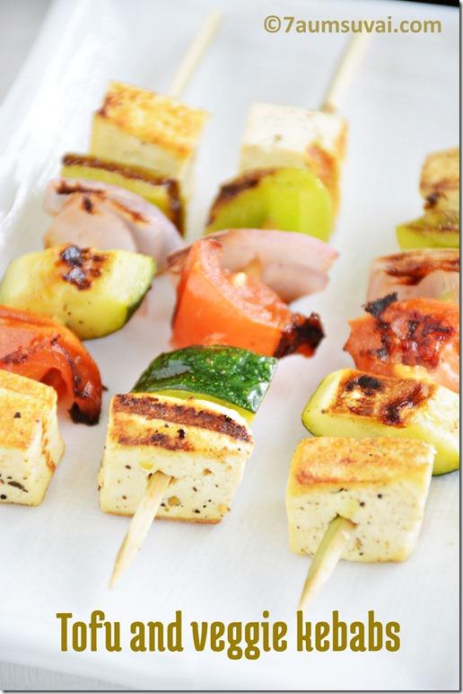 Mediterranean Tofu and veggie kebabs
