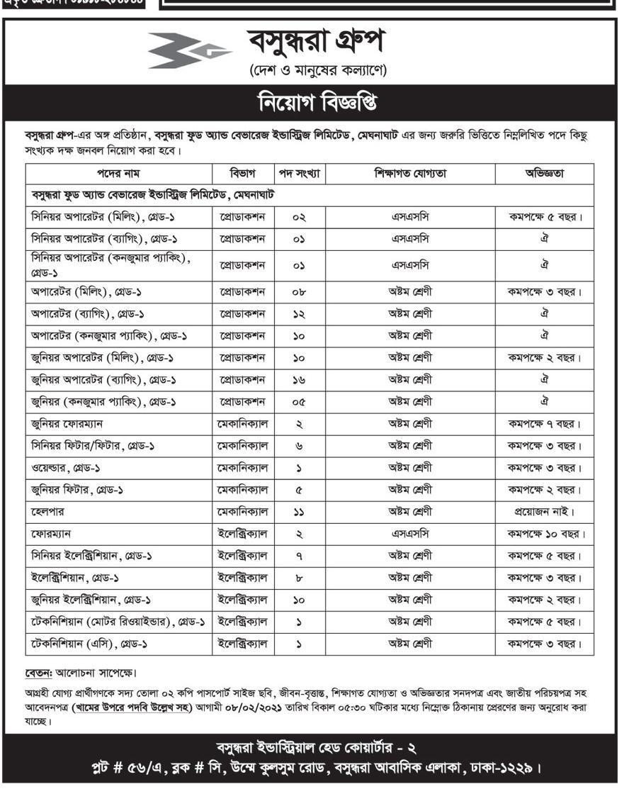 বসুন্ধরা গ্রুপে নিয়োগ ২০২১ - bashundhara group job circular 2021