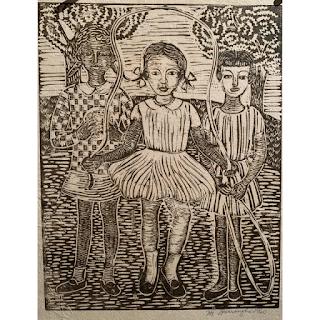 """3 Girls Playing"" by Margaret Burroughs"