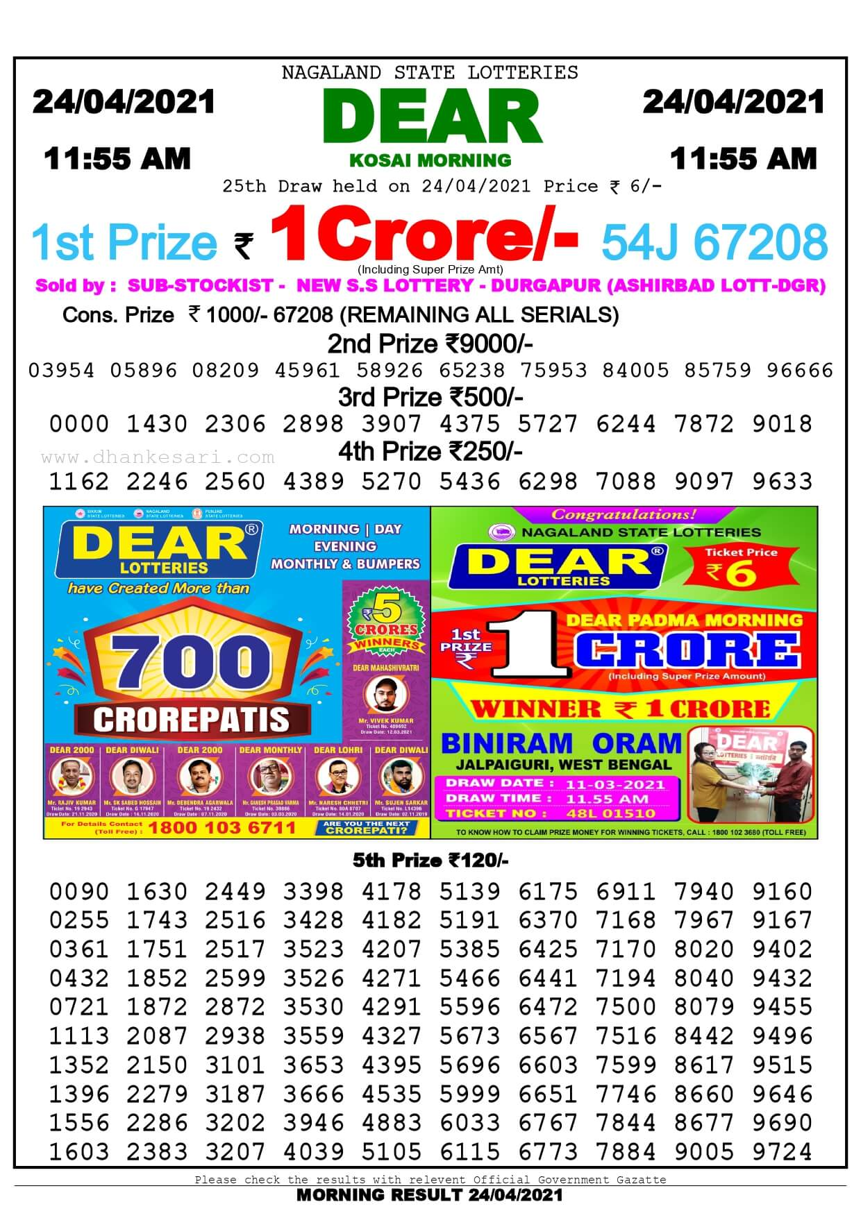 Dhankesari Lottery Sambad Result Today 11:55 AM 24.4.2021