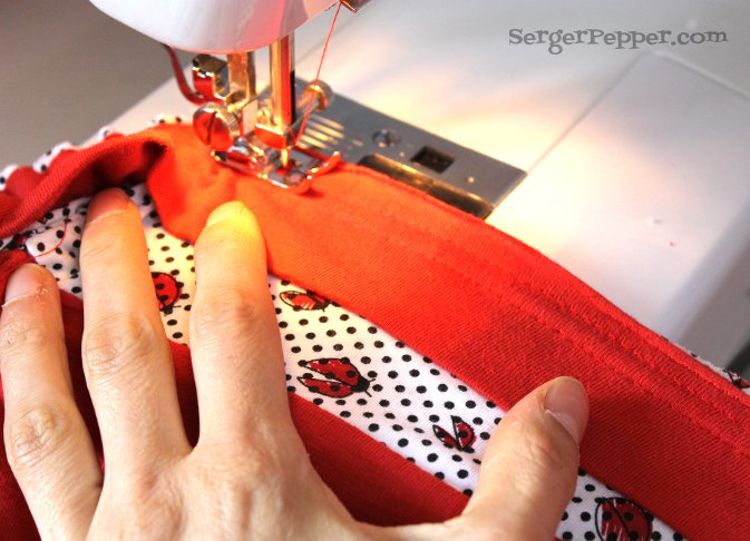 Serger Pepper - Guest Post on Brassy Apple - Refashion Tutorial - Bubble Romper - attach the ruffle 3