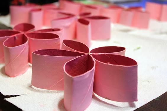 Flores de rolos de papel higiênico