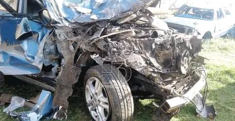 Crushed car photo