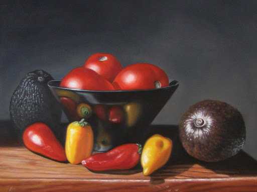 "Guacamole 12"" by 16"" oil on panel. Artist Judy Prisoc"