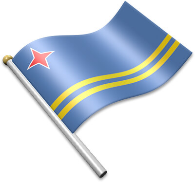 The Aruban flag on a flagpole clipart image