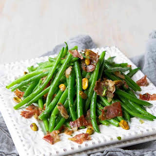 Easy Greens Beans with Prosciutto & Pistachios.