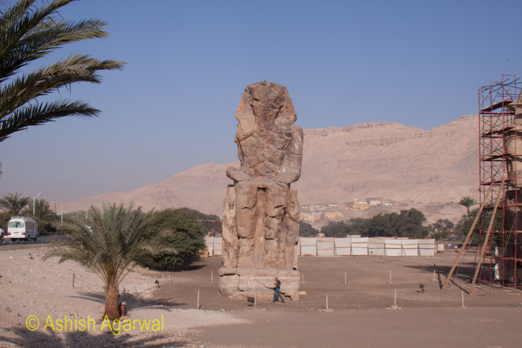 View of the statue of the Colossi of Memnon, just outside Luxor, in Egypt