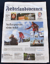 Photo: Fædrelandsvennen was also there to welcome us and this is their front page on 16th July